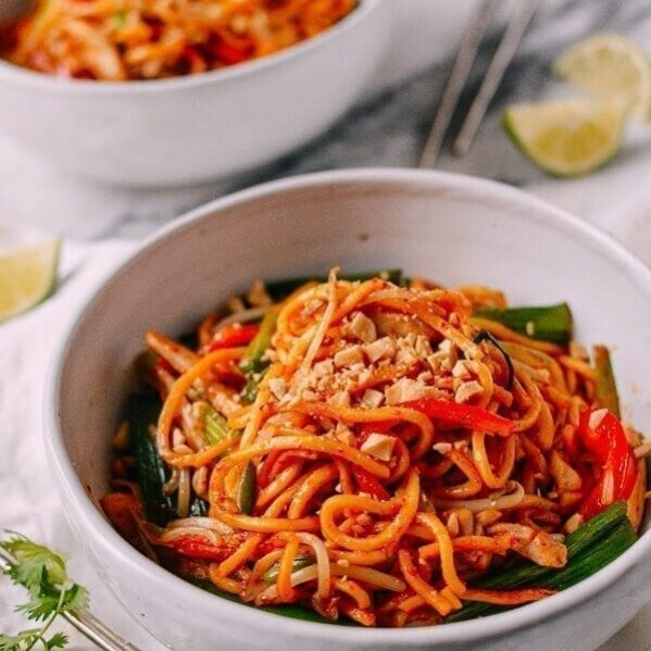 Red Curry Noodles with Chicken, by thewoksoflife.com