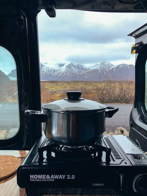 Iceland Camper van cooking with a view