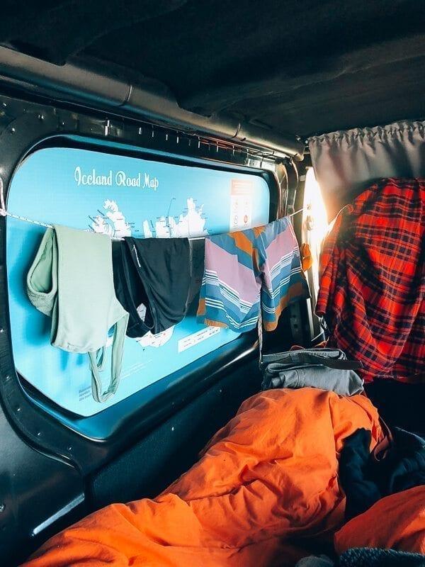 Camper van clothesline