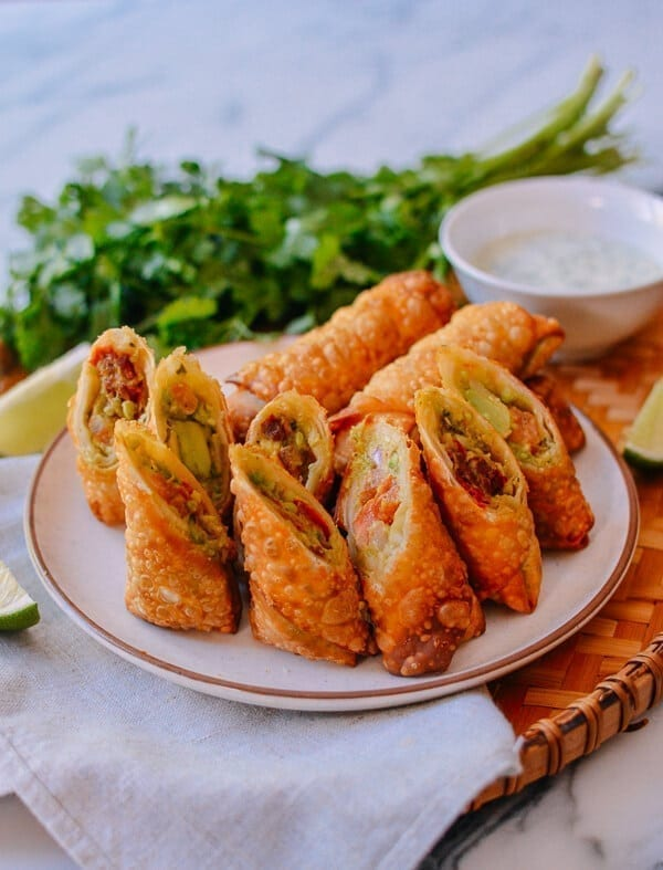 Avocado Egg Rolls, by thewoksoflife.com