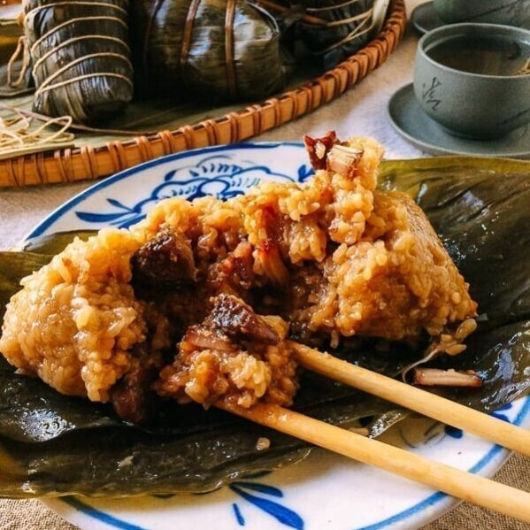 Shanghai Style Pork Zongzi (Sticky Rice Dumplings), by thewoksoflife.com