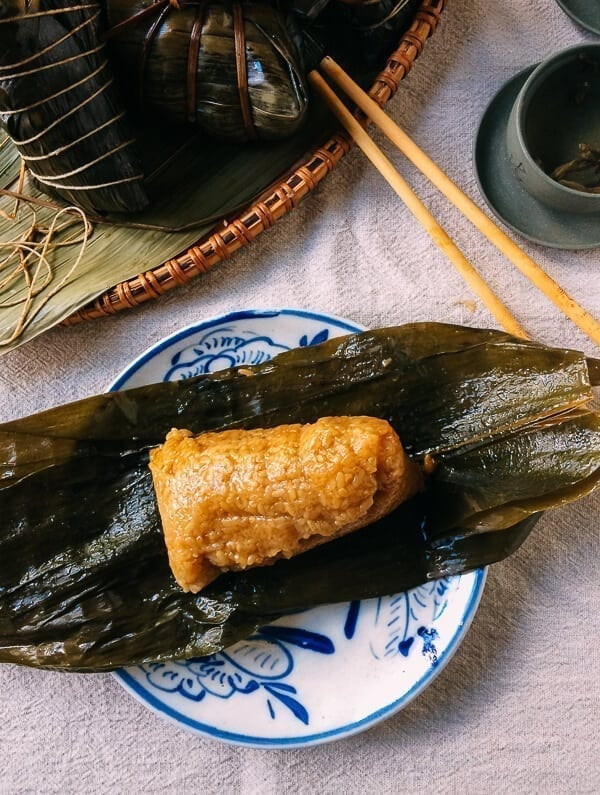 Shanghai Style Pork Zongzi (Sticky Rice Dumplings), by thewoksoflife.com