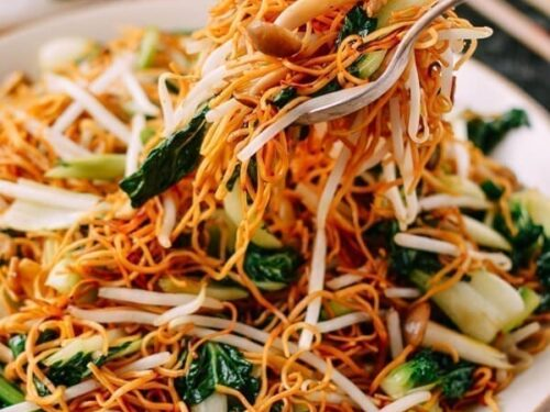 Vegetable Chow Mein Noodles Hong Kong Cantonese Style