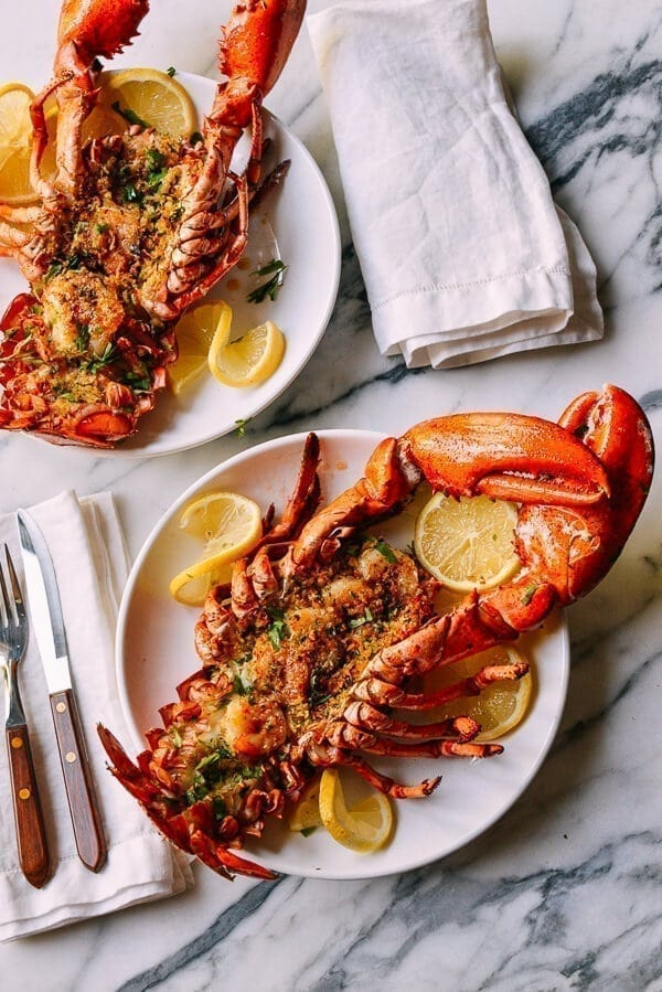Baked Stuffed Lobster with Shrimp, by thewoksoflife.com