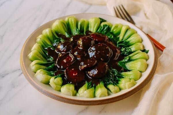 Braised Chinese Mushrooms with Bok Choy, by thewoksoflife.com