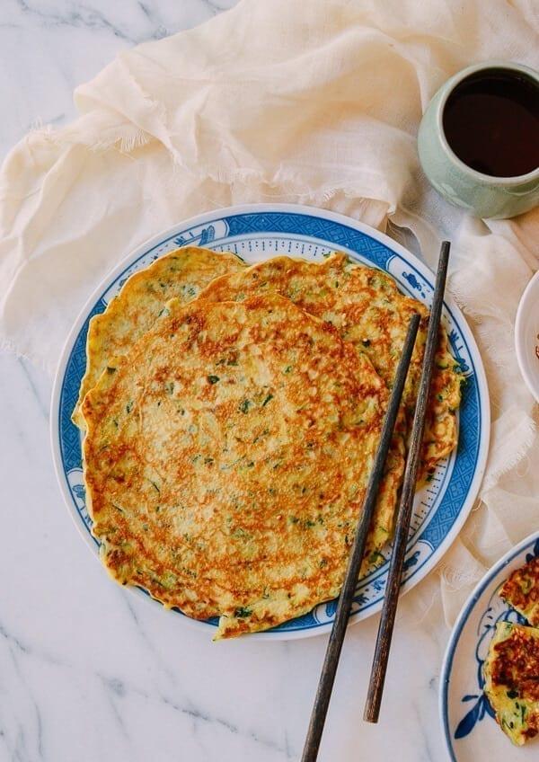 Chinese Zucchini Pancakes, by thewoksoflife.com