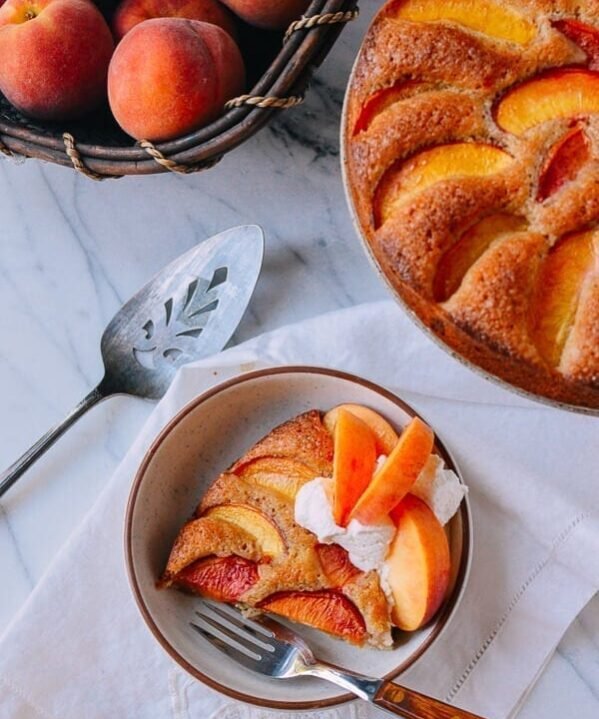 Peach Cake, by thewoksoflife.com