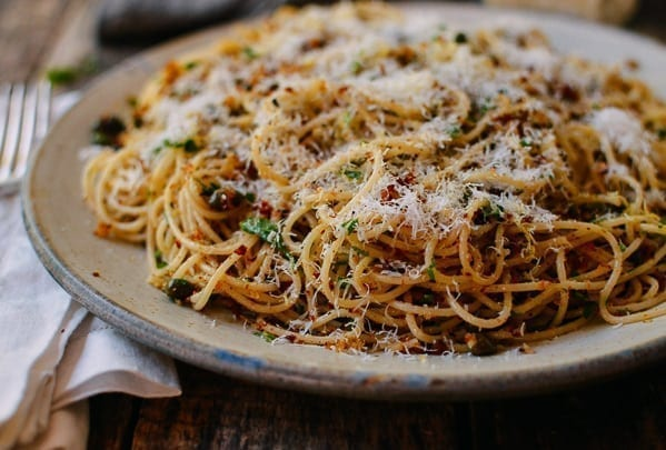 Spaghetti with Breadcrumbs & Anchovies, by thewoksoflife.com