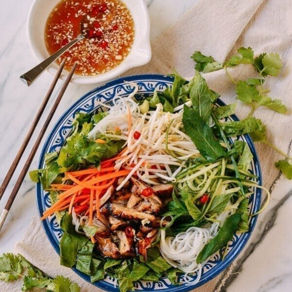 Vietnamese Rice Noodle Salad with Chicken, by thewoksoflife.com