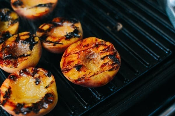 Grilled Peach Crisps with Yogurt, by thewoksoflife.com