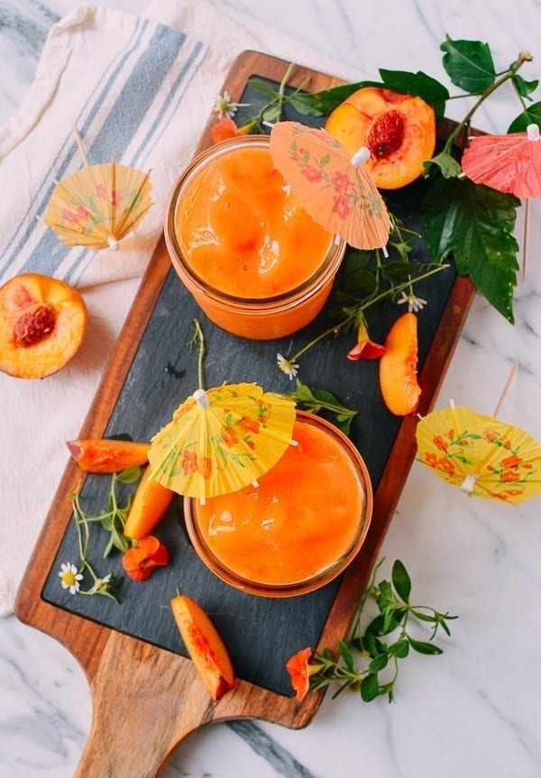 Frozen Peach Daiquiris, by thewoksoflife.com