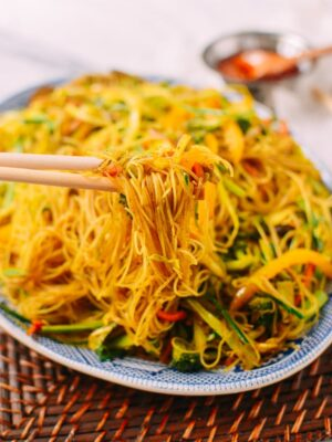 Vegetarian Singapore Noodles, by thewoksoflife.com
