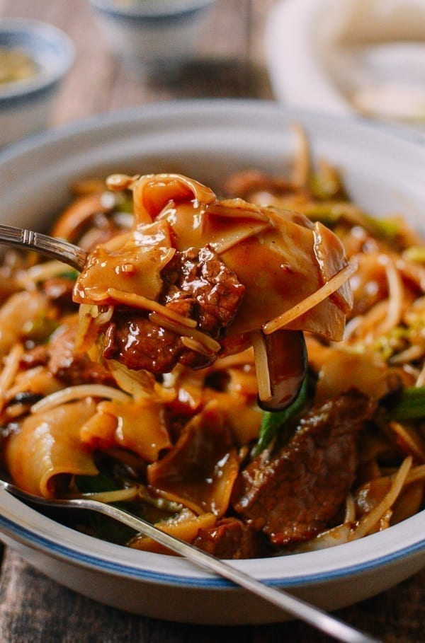 Saucy Beef Chow Ho Fun Noodles, by thewoksoflife.com