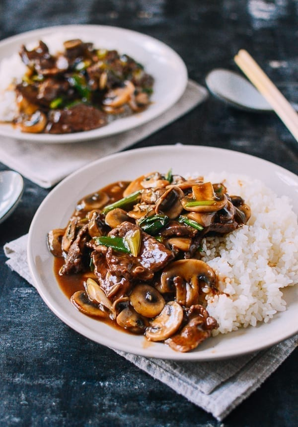 Beef and Mushroom Stir-Fry Rice Plate, by thewoksoflife.com