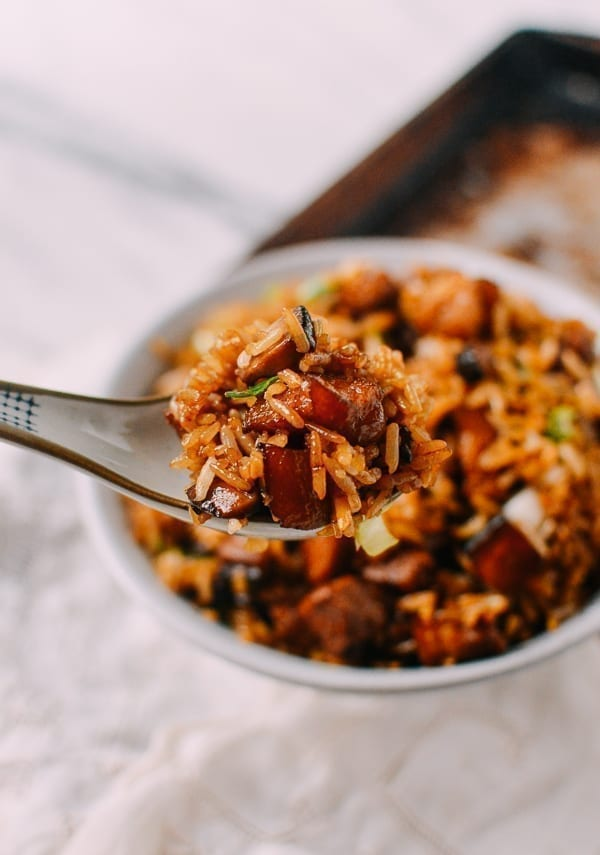 Easy Pork Belly & Mushroom Rice Bowl, by thewoksoflife.com