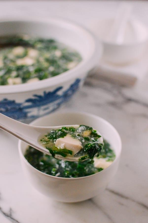Shepherd's Purse Tofu Soup, by thewoksoflife.com