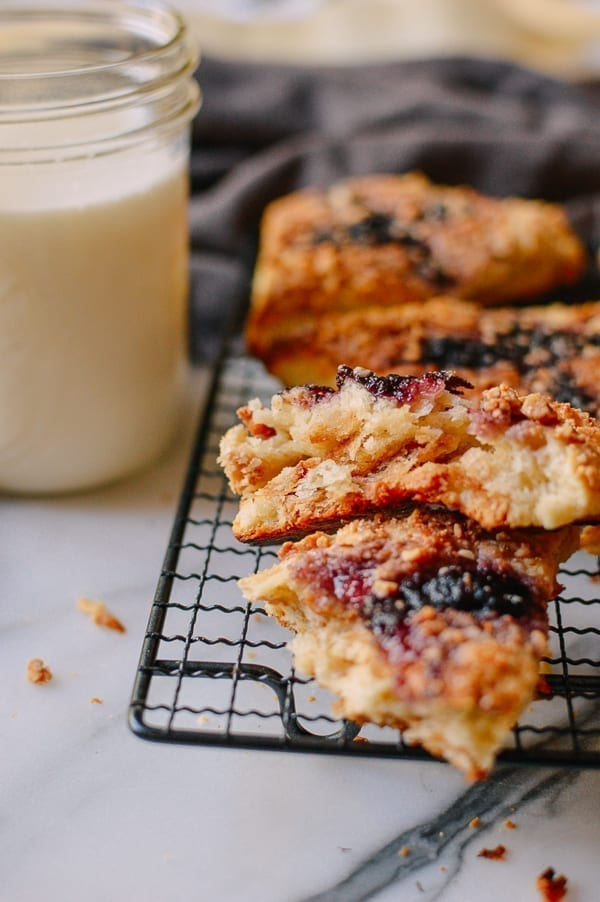 Peanut Butter & Jelly Scones, by thewoksoflife.com