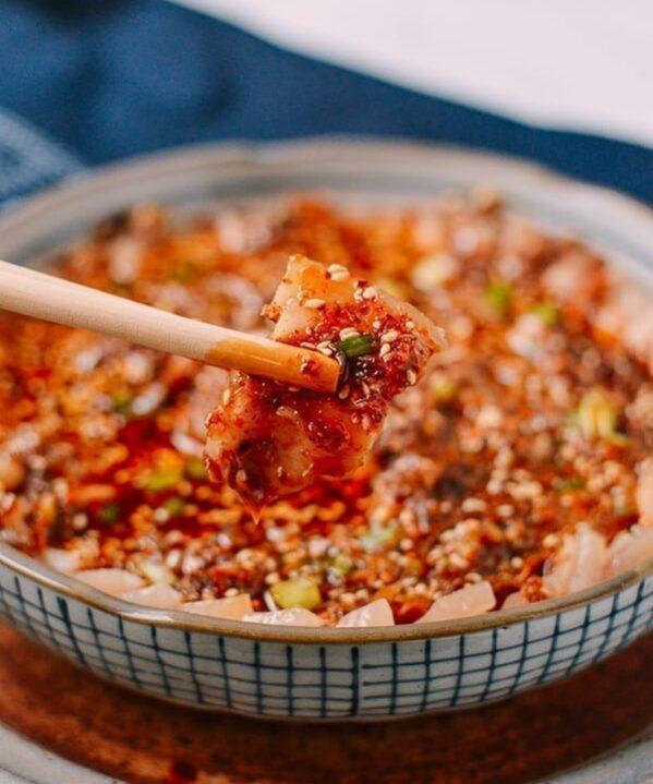 Suan Ni Bai Rou (Sliced Pork with Garlic Sauce), by thewoksoflife.com