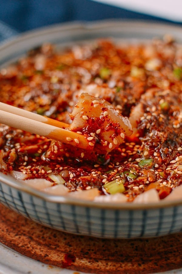 Suan Ni Bai Rou (Sliced Pork with Garlic Sauce), by thewoksoflife.com