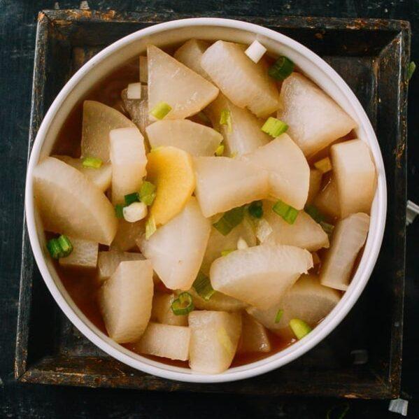 Tasty Boiled Daikon, by thewoksoflife.com