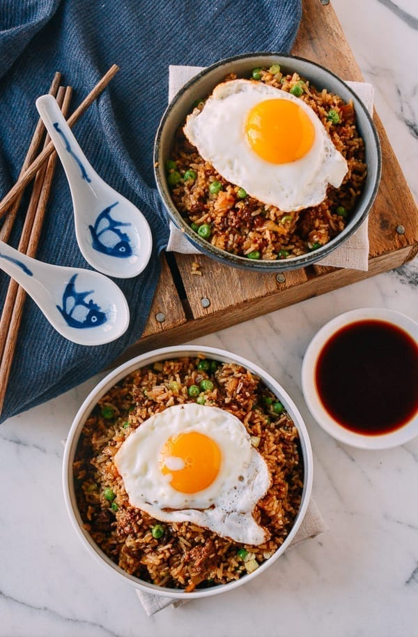 Hamburger Fried Rice, by thewoksoflife.com
