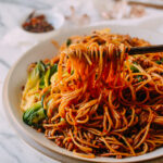 Spicy Crispy Pork Noodles, by thewoksoflife.com