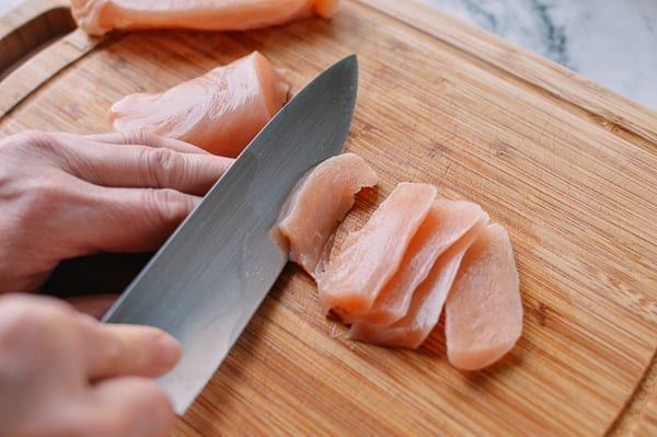 How to slice chicken for stir-fry, by thewoksoflife.com
