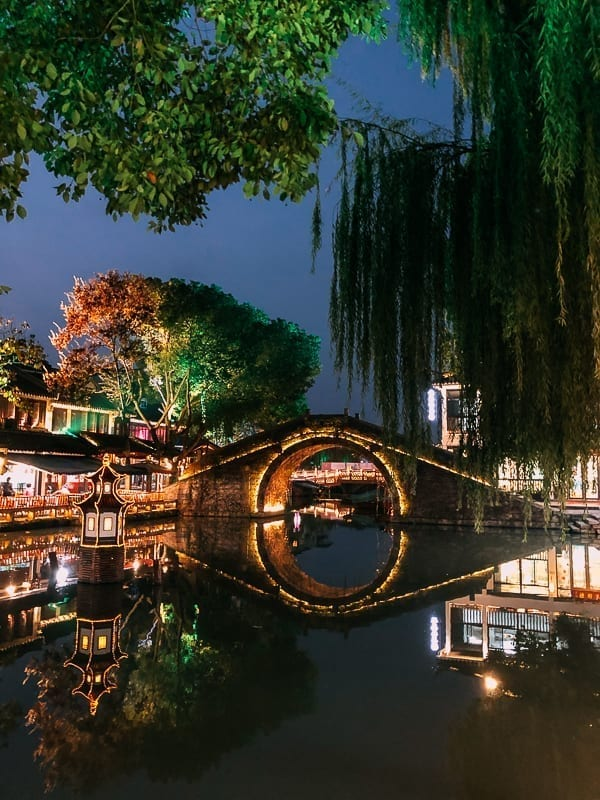 Zhouzhuang at night, by thewoksoflife.com