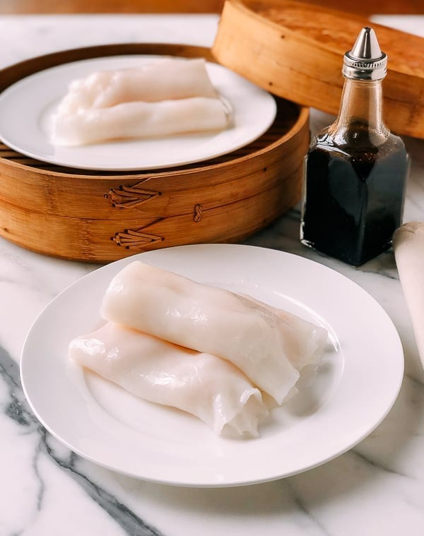 Shrimp Rice Noodle Rolls (Ha Cheung), by thewoksoflife.com