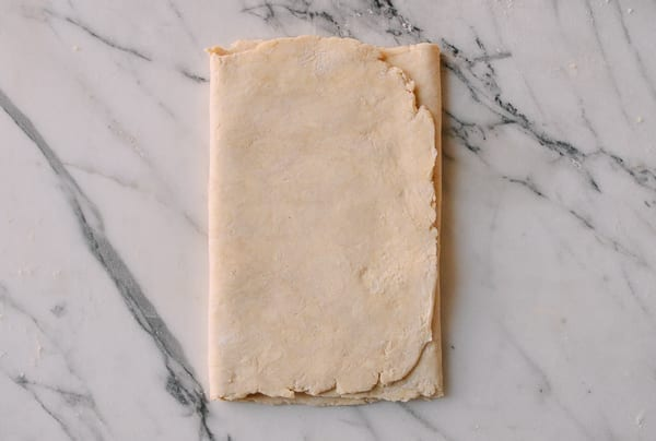 first turn of Rough Puff Pastry, by thewoksoflife.com