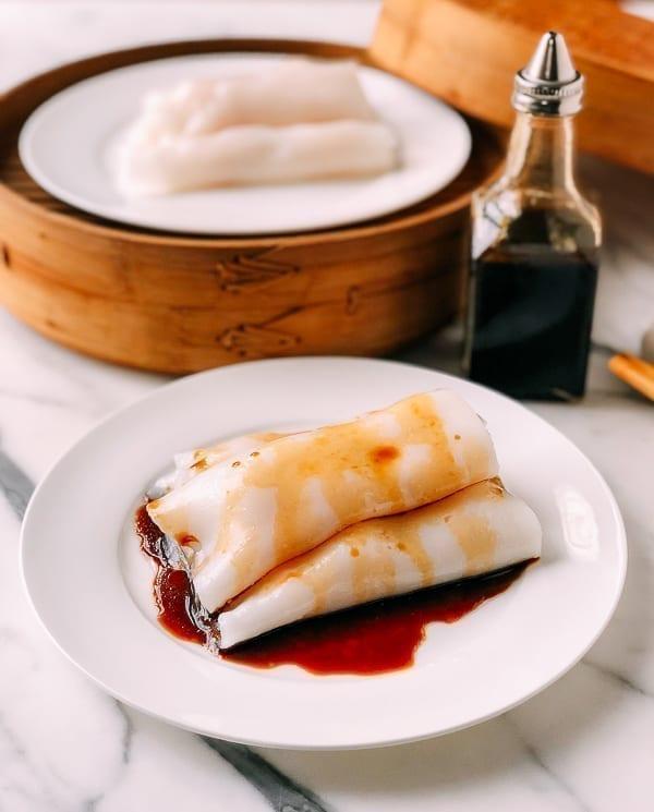 Shrimp Rice Noodle Rolls (Ha Cheung), by thewoksoflife.com