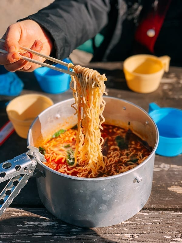 Spicy Ramen cooked in a camping pot, thewoksoflife.com