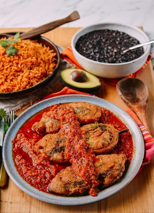 Chiles Rellenos with Salsa, thewoksoflife.com