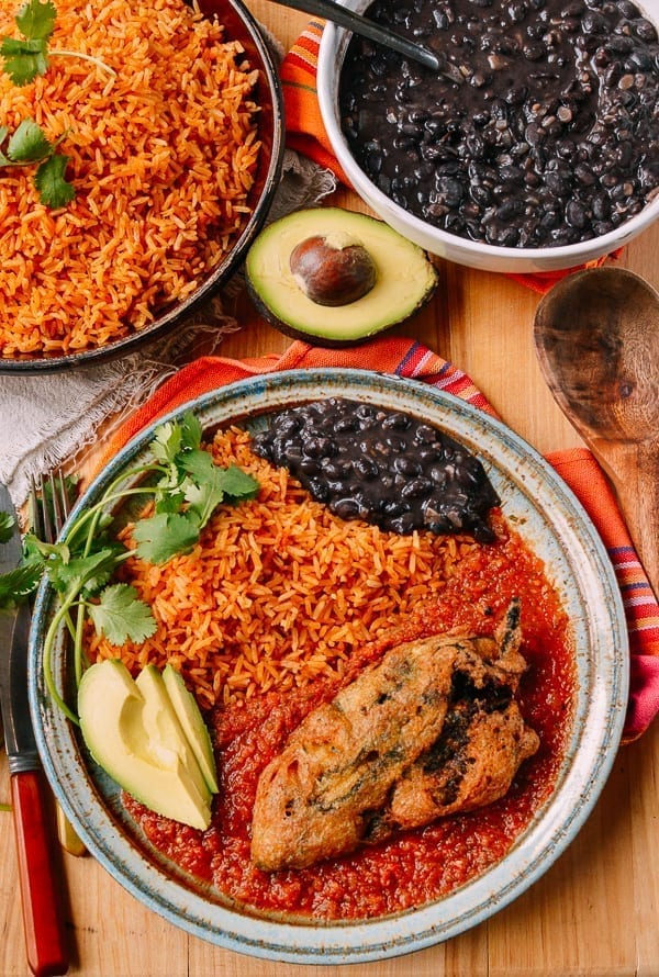 Chiles Rellenos with rice and beans, thewoksoflife.com