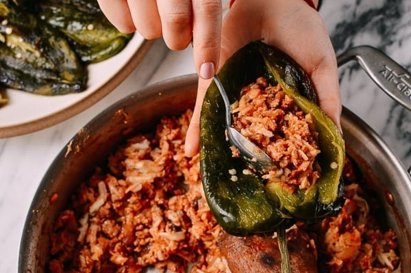 Stuffing Peppers for Chiles Rellenos, thewoksoflife.com