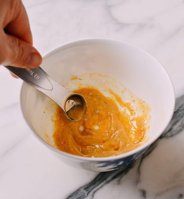 Mixing Chinese Hot Mustard, thewoksoflife.com