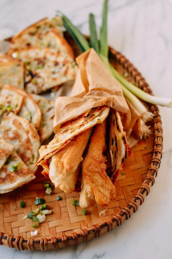 Scallion Pancake with Youtiao, thewoksoflife.com