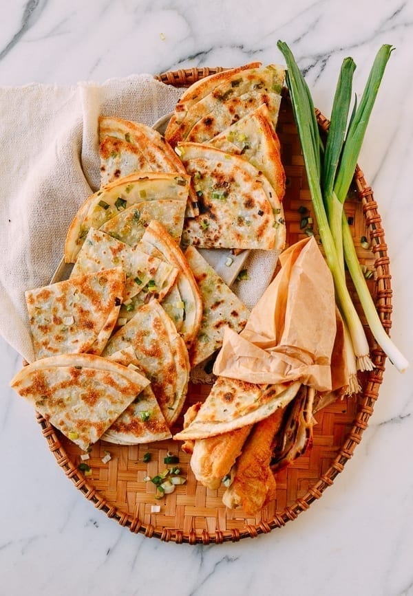 Easy Scallion Pancakes made with dumpling wrappers, thewoksoflife.com