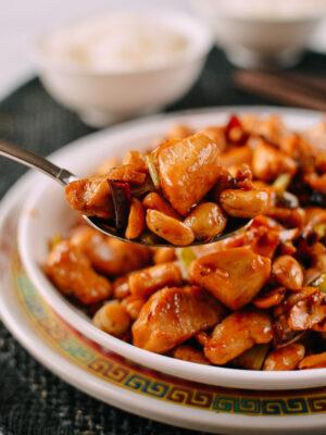 Serving kung pao chicken, thewoksoflife.com