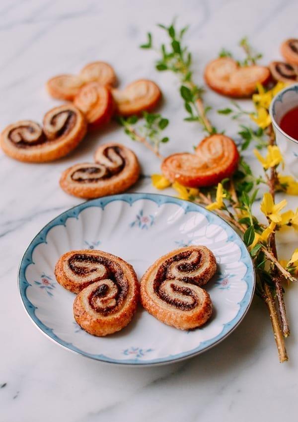Chocolate Palmiers that look like butterflies, thewoksoflife.com
