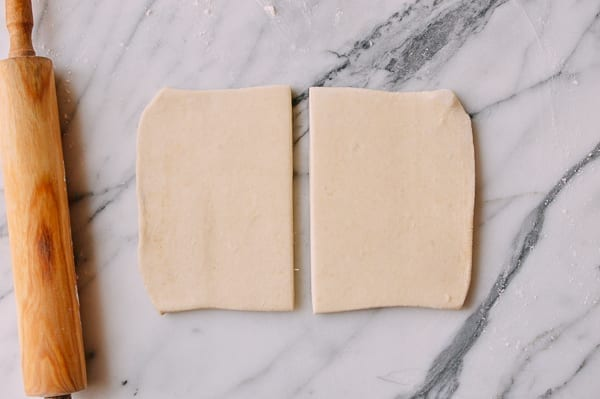 Splitting puff pastry into two rectangles, thewoksoflife.com
