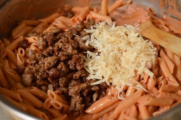 Penne with sausage and cheese, thewoksoflife.com