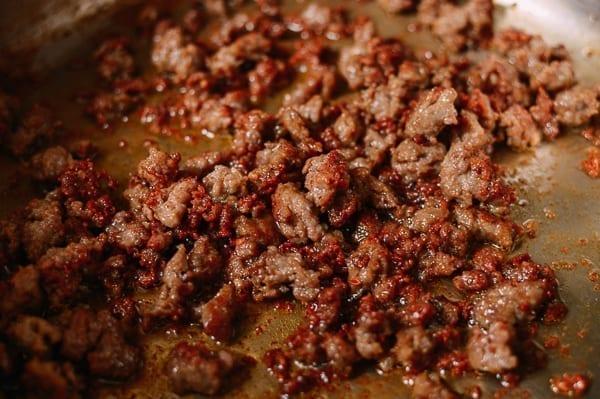 Crispy Italian Sausage crumbles, thewoksoflife.com