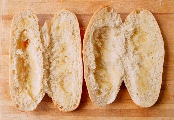 Italian rolls with inside bread removed, thewoksoflife.com
