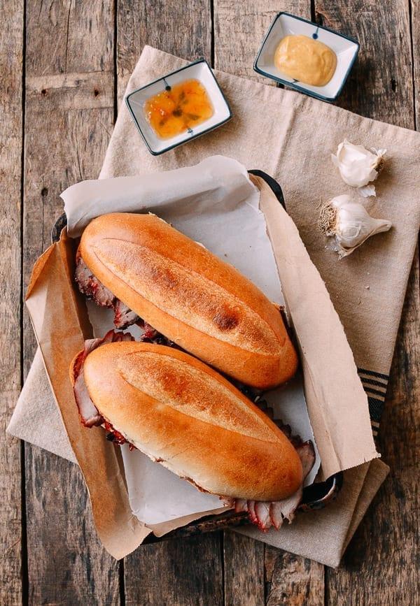 Roast Pork and Garlic Bread Sandwich, thewoksoflife.com