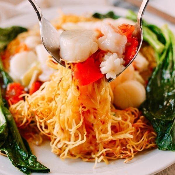 Serving Seafood Pan-Fried Noodles, thewoksoflife.com
