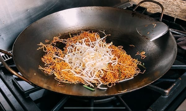 Adding Bean Sprouts to Fried Noodles, thewoksoflife.com