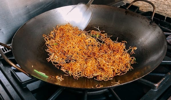 Soy Sauce Pan-fried Noodles in wok, thewoksoflife.com