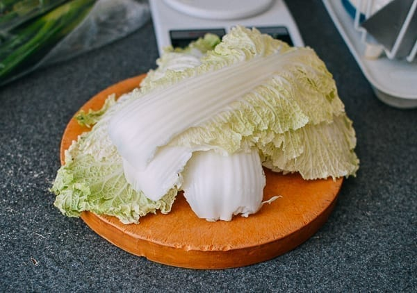 Napa cabbage leaves on cutting board, thewoksoflife.com