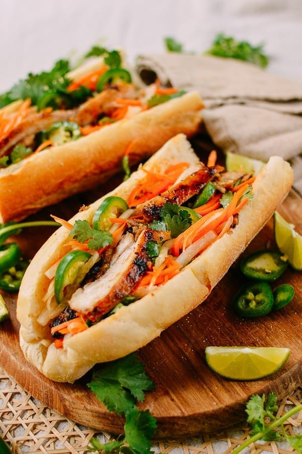 Lemongrass Chicken Banh Mi Sandwich, thewoksoflife.com